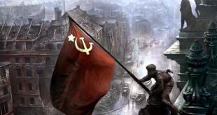 Советский солдат с флагом